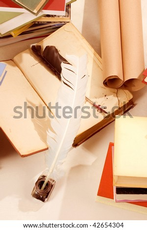 Group of books and writting tools - stock photo
