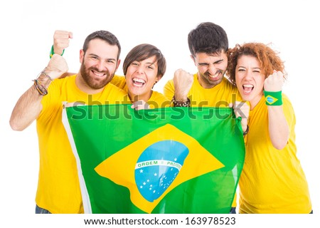 Group of Brazilian Supporters - stock photo