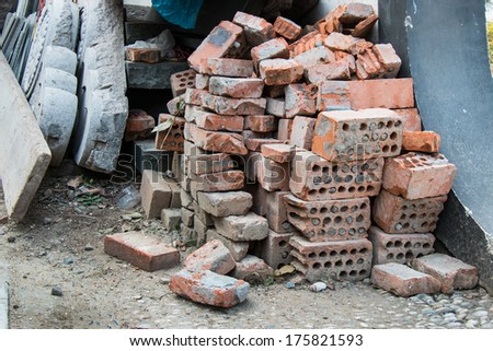 Group of brick in waste area - stock photo