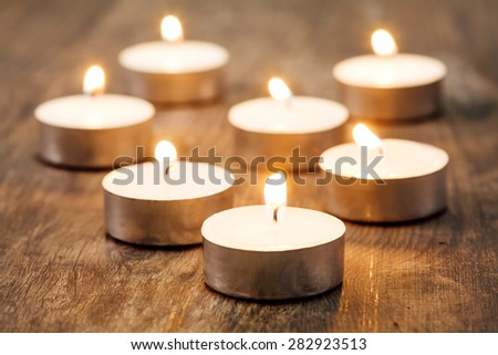Group of burning candles spa - stock photo