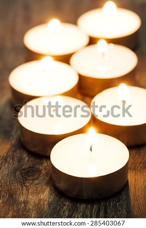 Group of burning candles, Spa and relaxing - stock photo