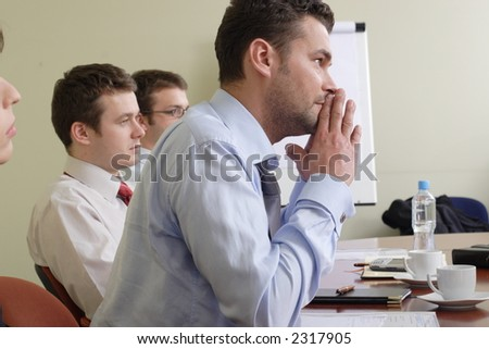 Group of business men at the meeting - stock photo