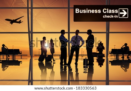 Group of Business People at Airport - stock photo