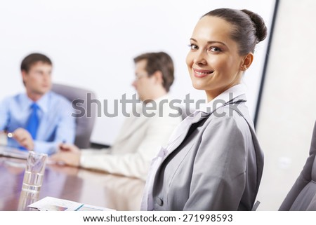 Group of business people brainstorming together in the meeting room - stock photo