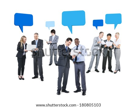 Group of Business People Discussing with Speech Bubbles  - stock photo