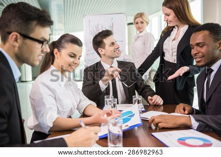Group of business people discussion new ideas at conference room. - stock photo