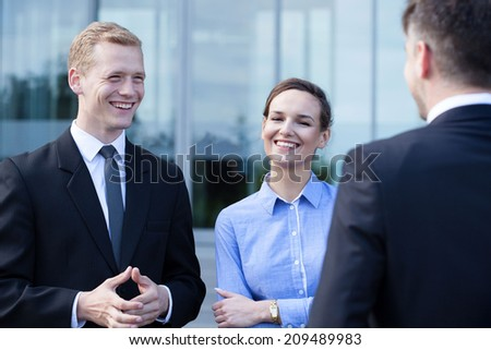 Group of business people during small talk - stock photo