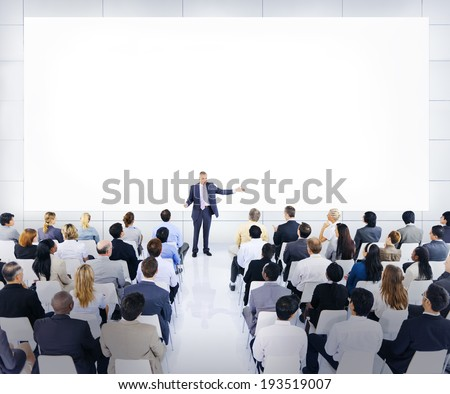 Group Of Business People Listening To A Speech - stock photo