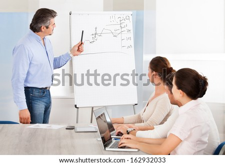 Group Of Business People Looking At The Graph On Flipchart - stock photo