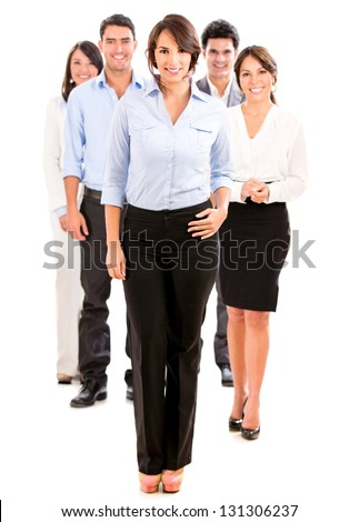 Group of business people looking happy - isolated over white - stock photo