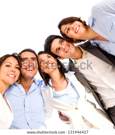 Group of business people looking very happy - isolated over white - stock photo