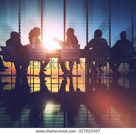 Group of Business People Meeting Back Lit Concept - stock photo