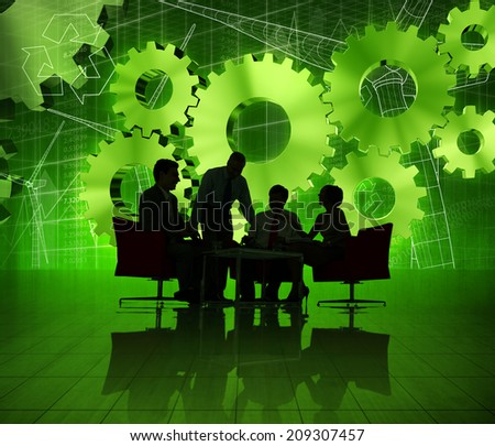 Group of Business People on Green World Economic - stock photo