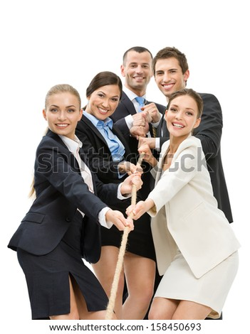 Group of business people pull the rope, isolated on white. Concept of teamwork and promotion - stock photo