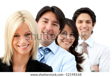 group of business people smiling isolated over a white background - stock photo