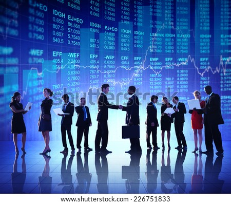Group of Business People Stock Market Concept - stock photo