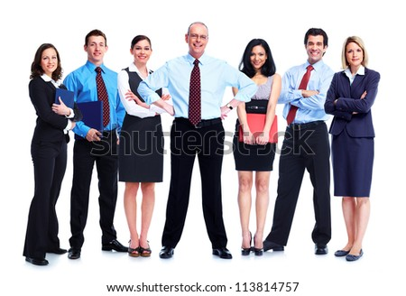 Group of business people team. Isolated on white background. - stock photo
