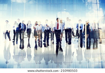 Group of Business People Walking Forward - stock photo