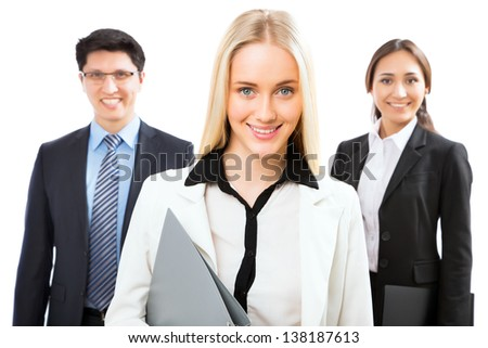 Group of business people with business woman leader on foreground - stock photo