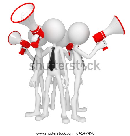 Group of business people with megaphone. Isolated - stock photo