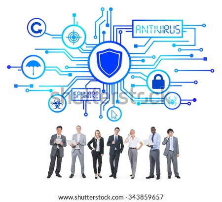 Group of Business People with Network Security Concept - stock photo