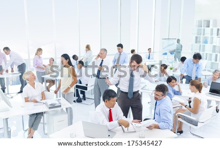 Group of Business People Working Hard in an Office - stock photo