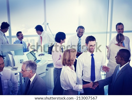 Group of Business People Working in an Office - stock photo