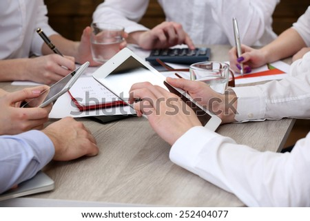 Group of business people working in office - stock photo
