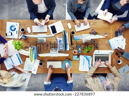 Group of Business People Working in the Office - stock photo