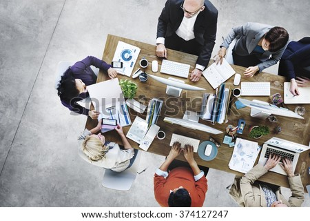 Group of Business People Working in the Office Concept - stock photo