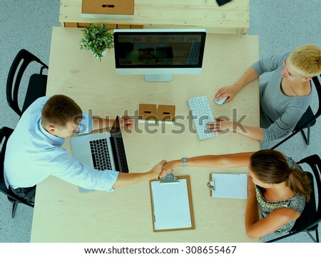 Group of business people working together  - stock photo