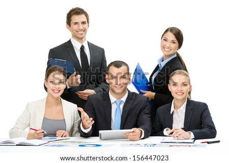 Group of business people working while sitting at the table, isolated on white. Concept of teamwork and cooperation - stock photo