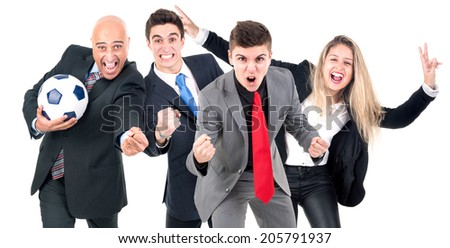 Group of businesspeople celebrating football - stock photo