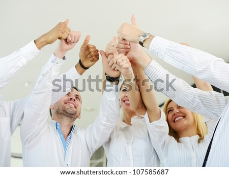 Group of businesspeople enjoying business achievement - stock photo