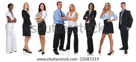 Group of businesspeople standing isolated on a white background - stock photo