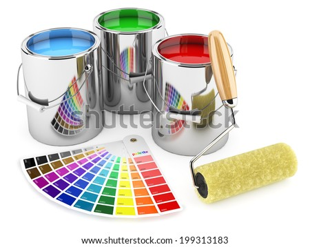 Group of can paints, roller brush and palette of colors - stock photo
