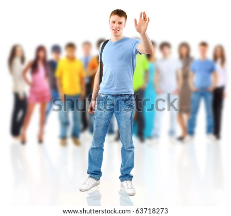 group of casual happy people smiling and standing isolated over a white background - stock photo