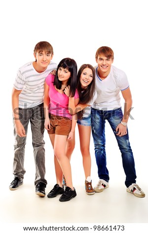 Group of casual young people isolated over white background. - stock photo