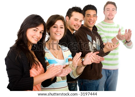 group of casual young people smiling and applauding over a white background - stock photo