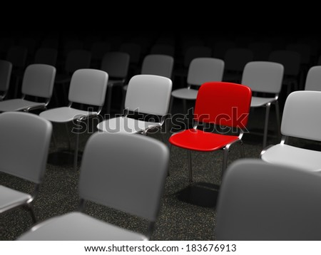 Group of chairs with a red chair standing out symbol for uniqueness - stock photo