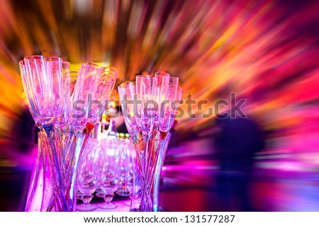 Group of champagne glasses on the table. - stock photo