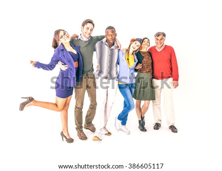 Group of cheerful people on white background - Multi-ethnic group of diverse age posing in a studio - stock photo