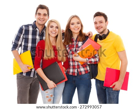 Group of cheerful students isolated on white background - stock photo