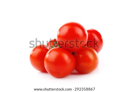 Group of cherry tomatoes isolated on white - stock photo