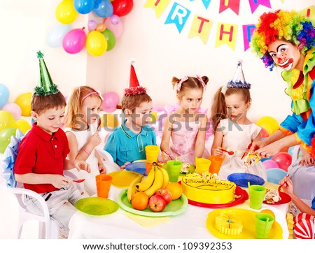 Group of child happy birthday party . - stock photo