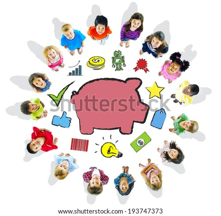 Group of Children and Saving Concept - stock photo