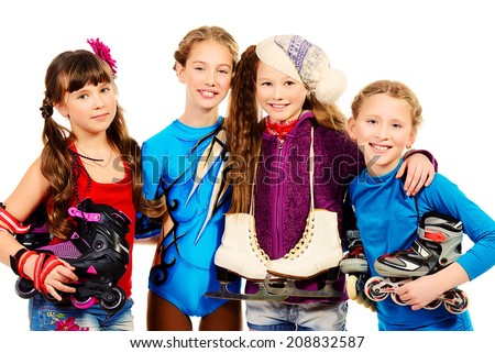 Group of children, fond of different sports, standing together and smiling. Isolated over white. - stock photo