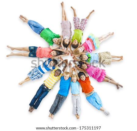 Group of Children In a Circle - stock photo