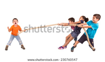 Group of children in a rope-pulling contest against just one kid - stock photo