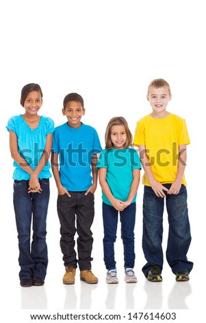 group of children in bright t-shirt isolate on white background - stock photo